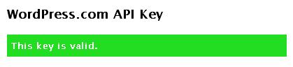 De melding dat de Askimet API Key in orde is