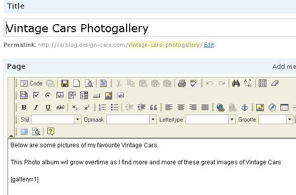 Invoeren van gallery code in pagina