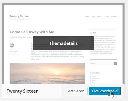 WordPress Thema voorbeeld bekijken