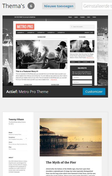 WordPress Weergave Thema's beheren