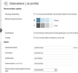 WordPress Gebruikers Profiel aanpassen